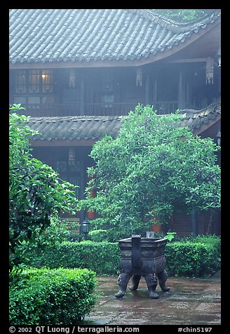 Wannian Si temple in the fog. Emei Shan, Sichuan, China (color)
