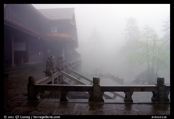Xiangfeng temple in fog. Emei Shan, Sichuan, China (color)