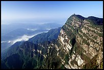 Wanfo Ding temple perched on a precipituous cliff. Emei Shan, Sichuan, China (color)