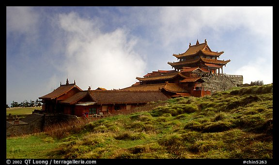 Jinding Si temple, mid-morning. Emei Shan, Sichuan, China (color)