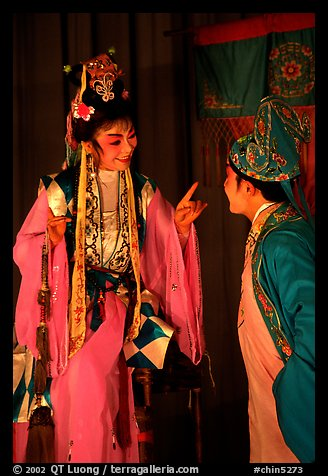 Two characters of Sichua opera on stage. Chengdu, Sichuan, China