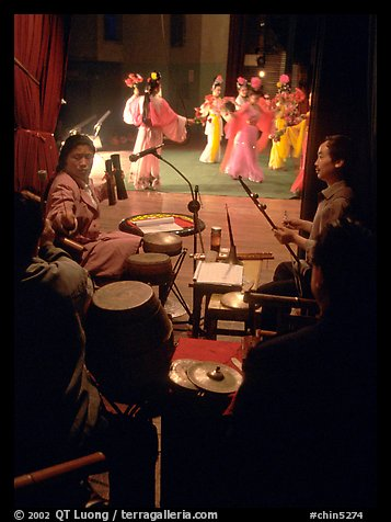 Sichuan opera performers and musicians seen from the backstage. Chengdu, Sichuan, China (color)