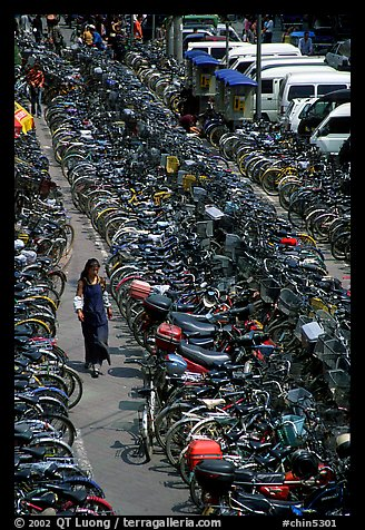 Woman walking in a bicycle parking lot. Chengdu, Sichuan, China (color)