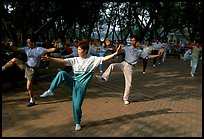 Collective exercise gymnastics, Liuha Park. Guangzhou, Guangdong, China ( color)