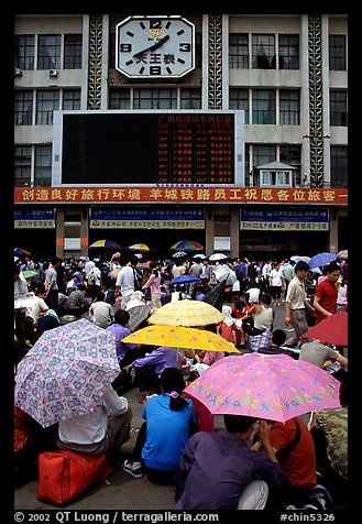 Crowds waiting outside the main train station. Guangzhou, Guangdong, China (color)