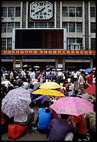 Crowds waiting outside the main train station. Guangzhou, Guangdong, China ( color)