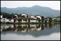 Hongcun village and mountains reflected in South Lake. Hongcun Village, Anhui, China ( color)