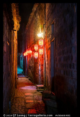 Alley with lanterns at night. Hongcun Village, Anhui, China (color)