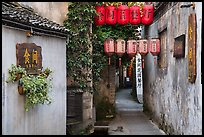 Alley with lanterns and plants. Hongcun Village, Anhui, China ( color)