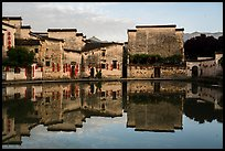 Houses reflected in Moon Pond. Hongcun Village, Anhui, China ( color)