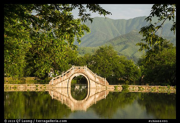 Bridge over South Lake. Hongcun Village, Anhui, China (color)