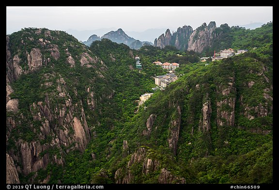 Hotels perched near montaintop. Huangshan Mountain, China (color)