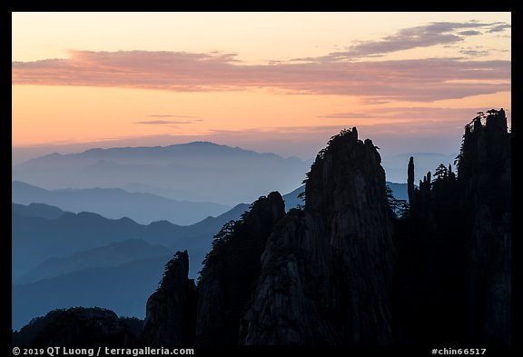 Spires and ridges at sunrise. Huangshan Mountain, China (color)