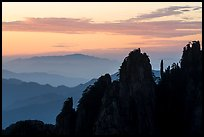 Spires and ridges at sunrise. Huangshan Mountain, China ( color)