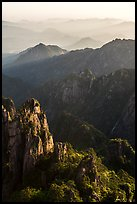 Spires and distant ridges. Huangshan Mountain, China ( color)