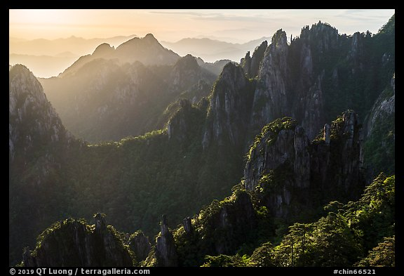 Granite spires, early morning. Huangshan Mountain, China (color)