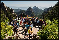 Tourists at overlook. Huangshan Mountain, China ( color)