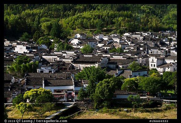 Village from above. Xidi Village, Anhui, China (color)