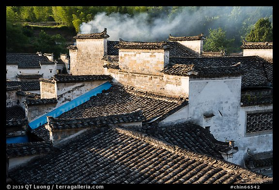 Rooftops and smoke. Xidi Village, Anhui, China (color)