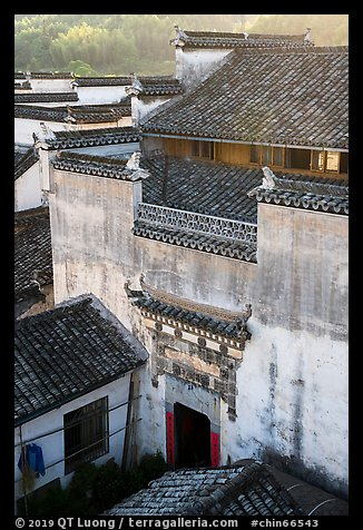 Historic house from above. Xidi Village, Anhui, China (color)