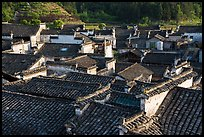 Slate tiled rooftops. Xidi Village, Anhui, China ( color)