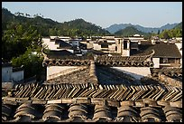 Slate tiles on roofs. Xidi Village, Anhui, China ( color)