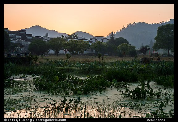Pond and village at sunrise. Xidi Village, Anhui, China (color)