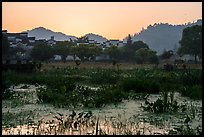 Pond and village at sunrise. Xidi Village, Anhui, China ( color)
