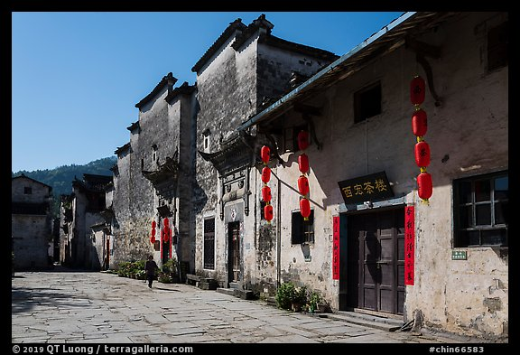 Plaza with historic houses. Xidi Village, Anhui, China (color)