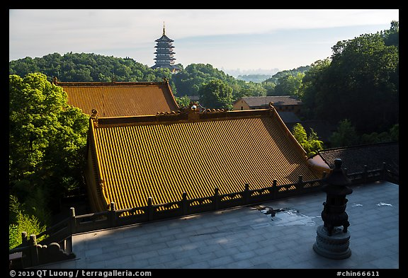 Roofs of Jingci Temple and Leifeng Pagoda. Hangzhou, China (color)