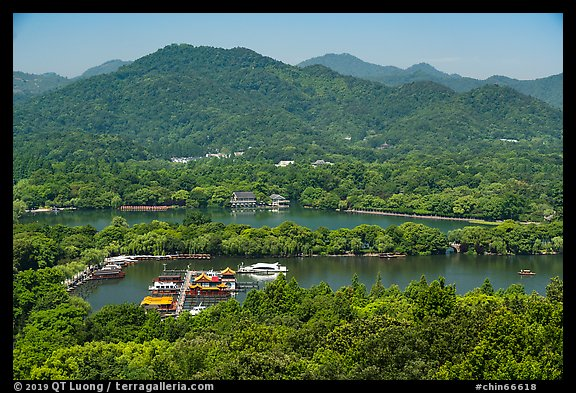 Hills, West Lake and causeway from above. Hangzhou, China (color)