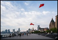 Chinese flats on kite lines, the Bund. Shanghai, China ( color)