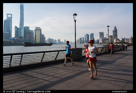 Runners on the Bund. Shanghai, China (color)