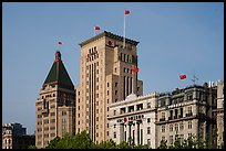 Colonial area buildings with Chinese flags. Shanghai, China ( color)