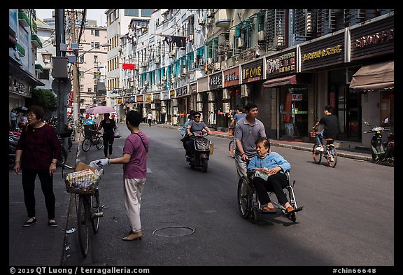 Early morning street scene. Shanghai, China (color)