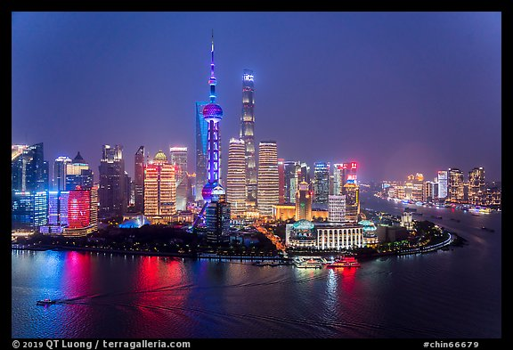 Shanghai skyline at night from above. Shanghai, China (color)