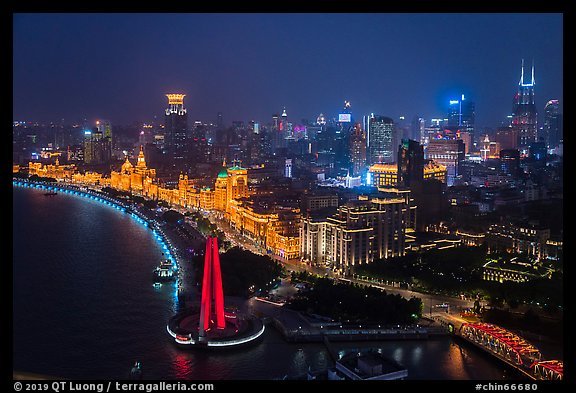 City skyline with illuminated Bund from above. Shanghai, China (color)