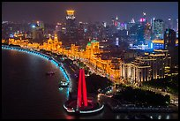 Illuminated Bund at night from above. Shanghai, China ( color)