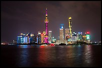 City skyline above Huangpu River at night. Shanghai, China ( color)