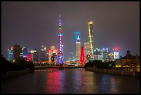 Garden Bridge, Peoples Memorial and city skyline at night. Shanghai, China ( color)