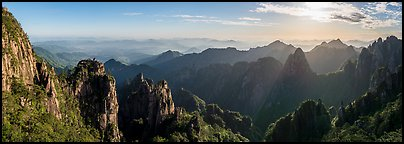Peculiarly-shaped granite peaks and ridges. Huangshan Mountain, China (Panoramic color)
