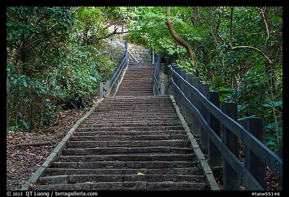 Stairs leading up Elephant Mountain. Taipei, Taiwan (color)