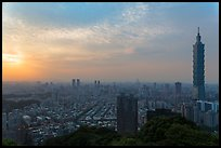 Taipei skyline from above at sunset. Taipei, Taiwan ( color)