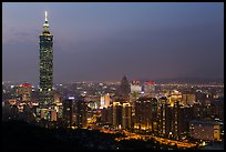 City skyline at dusk with Taipei 101 tower. Taipei, Taiwan (color)