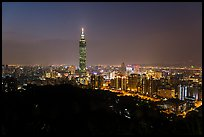 Taipei skyline from above at night. Taipei, Taiwan (color)