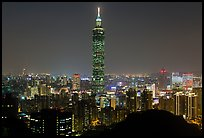 Xinyi district and Taipei 101 at night. Taipei, Taiwan (color)