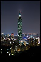 Taipei 101 tower from above at night. Taipei, Taiwan (color)