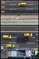 Taxis on street seen from above. Taipei, Taiwan (color)