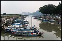 Small boat harbor along Damshui River. Taipei, Taiwan (color)