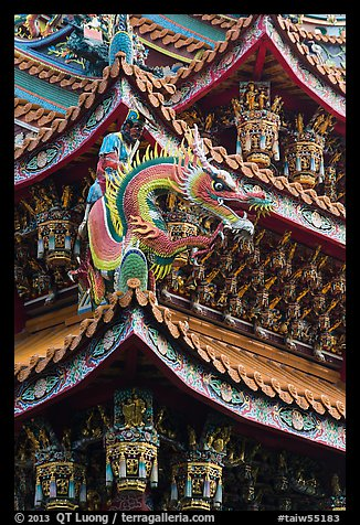 Roof detail, Guandu Temple. Taipei, Taiwan (color)